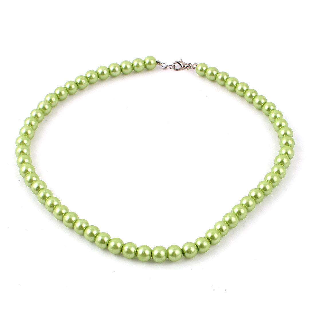 Ladies Single Strand Clasp Round Imitation Pearl Linked Necklace Decor Green