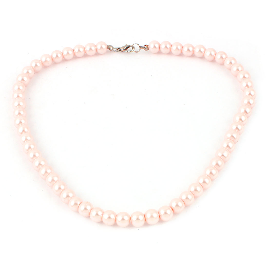 Lady Metal Clasp Round Beaded Imitation Pearl Necklace 8mm Pink