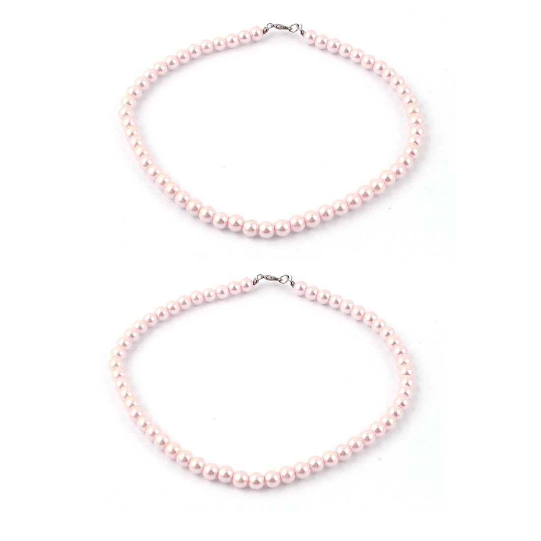 Ladies Single Strap Imitation Pearl Necklace Costume Jewlery 2pcs Pink