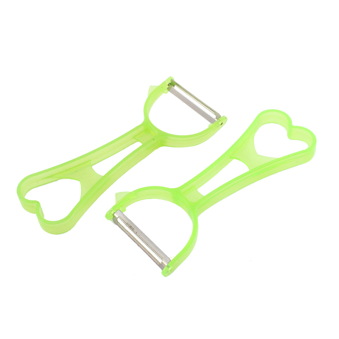 Green Heart Hole Handle Revolving Sawtooth Cutting Vegetable Fruit Peeler 2 Pcs