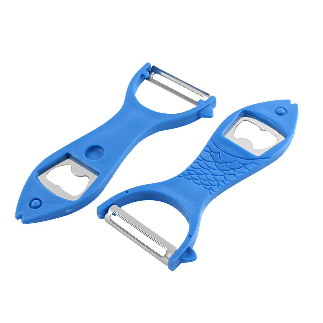 Kitchen Blue Fish Design Fruit Vegetable Peeler Cutter Slicer Beer Openner 2 Pcs