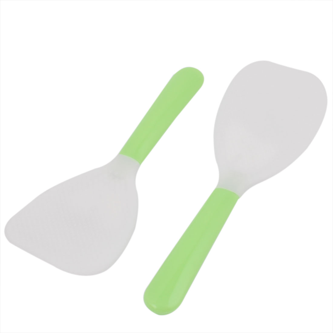 2 Pcs Plastic Grip Dotted Flat Rice Scoop Spoon Paddle Spatula Tableware