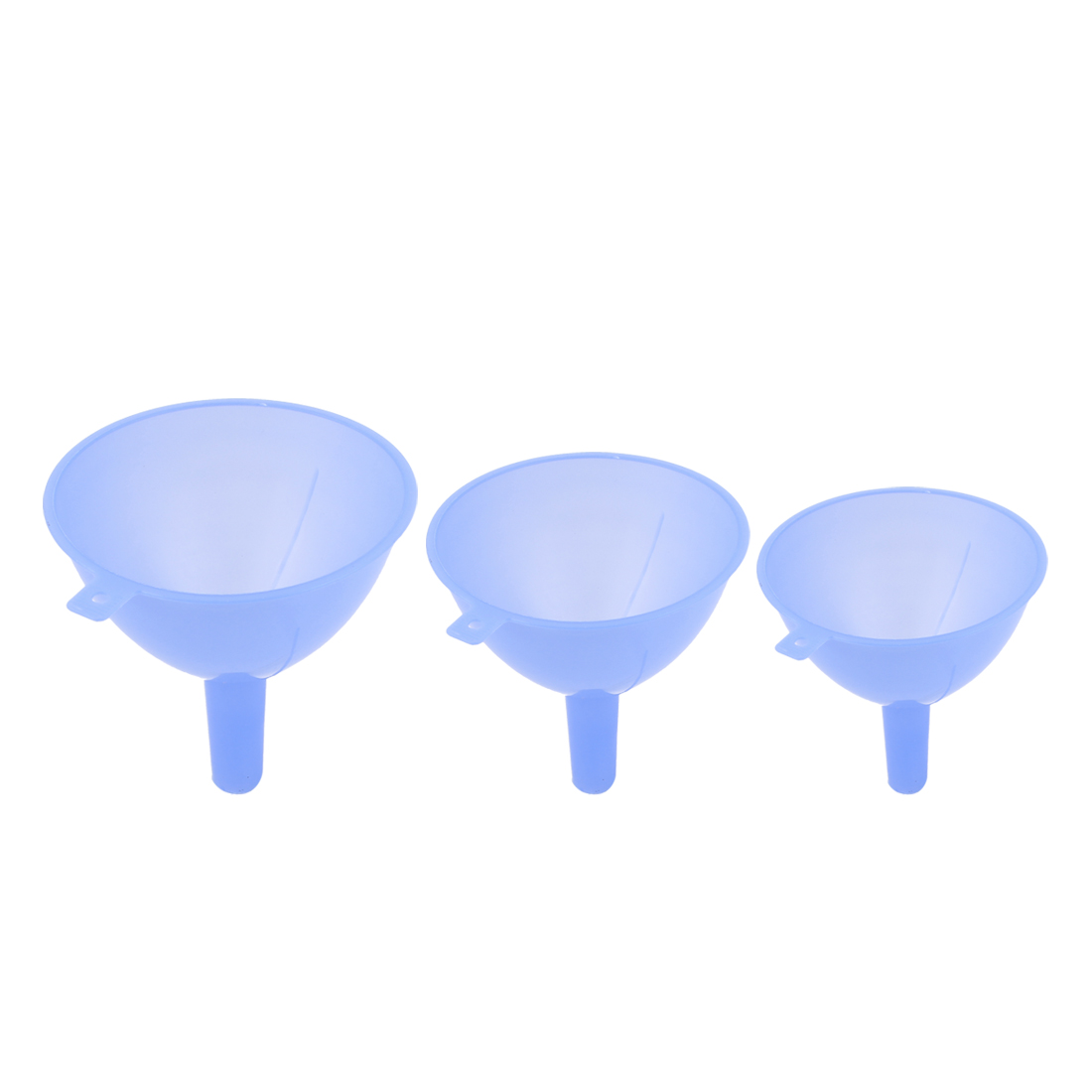 3 in 1 Liquid Oil Plastic 3 Sizes 120mm 110mm 90mm Dia Filter Funnels Blue