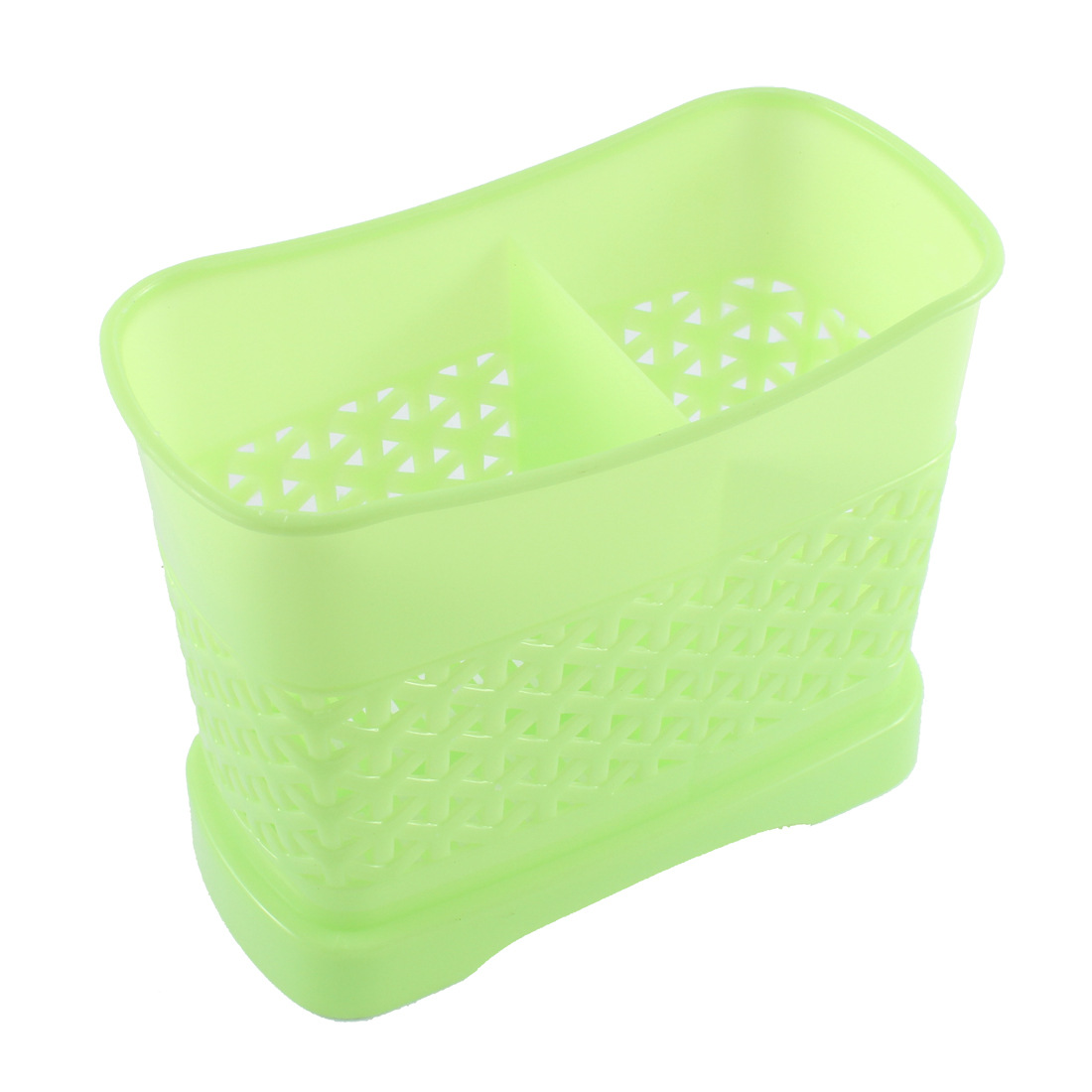 Plastic Dual Part Inner Hollow Out Fork Spoon Chopsticks Case Cage Holder Green
