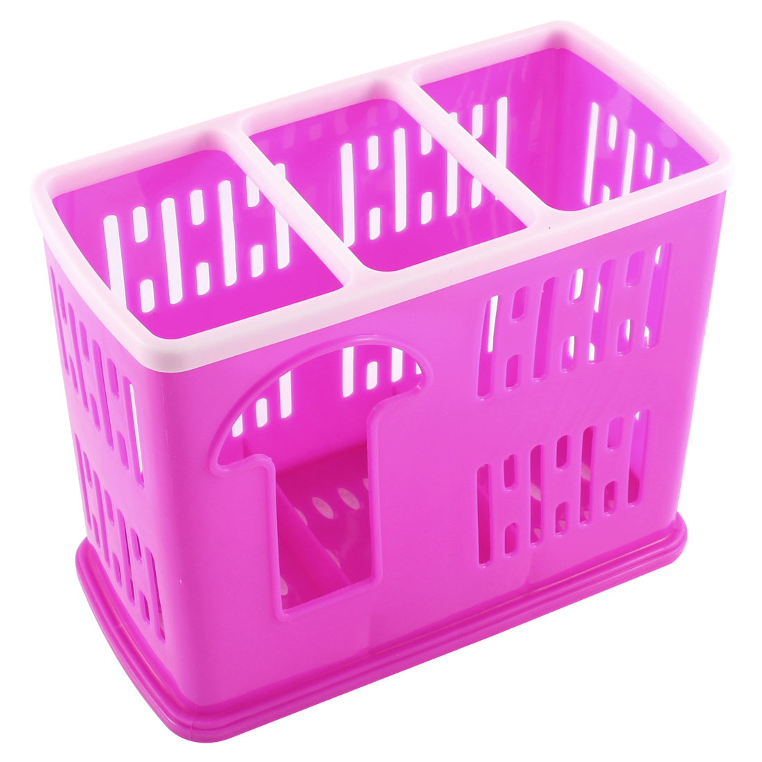 Kitchen 3 Compartments Hollow Out Chopsticks Spoon Case Holder Pink