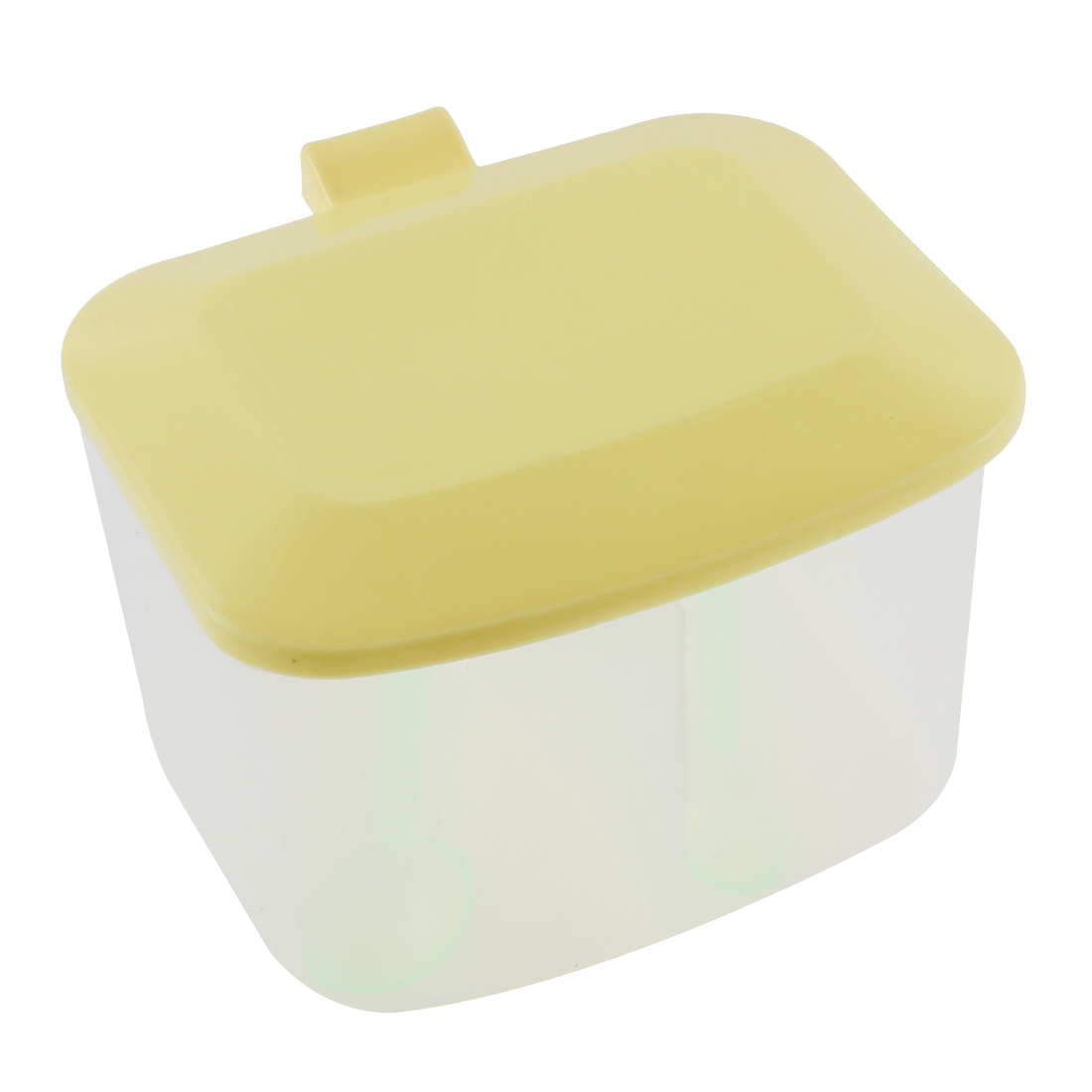Kitchen Plastic 2 Compartment Salt Condiment Spices Container Case Yellow