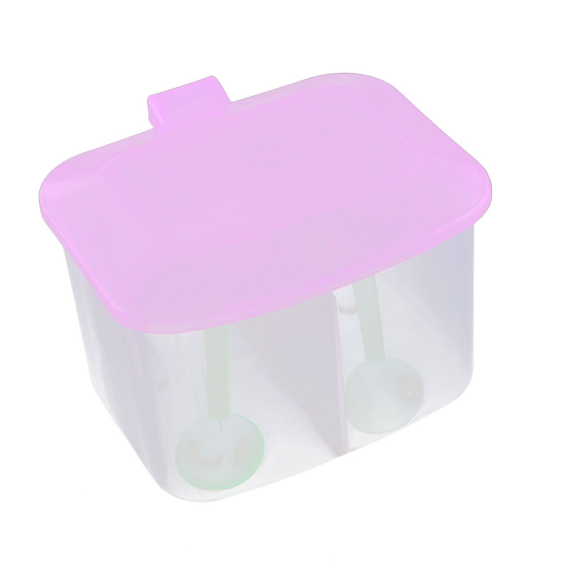 Kitchen Plastic 2 Compartment Salt Condiment Spices Container Case Purple