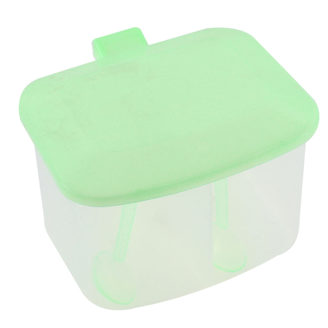 Kitchen Plastic 2 Compartment Salt Condiment Spices Container Case Green