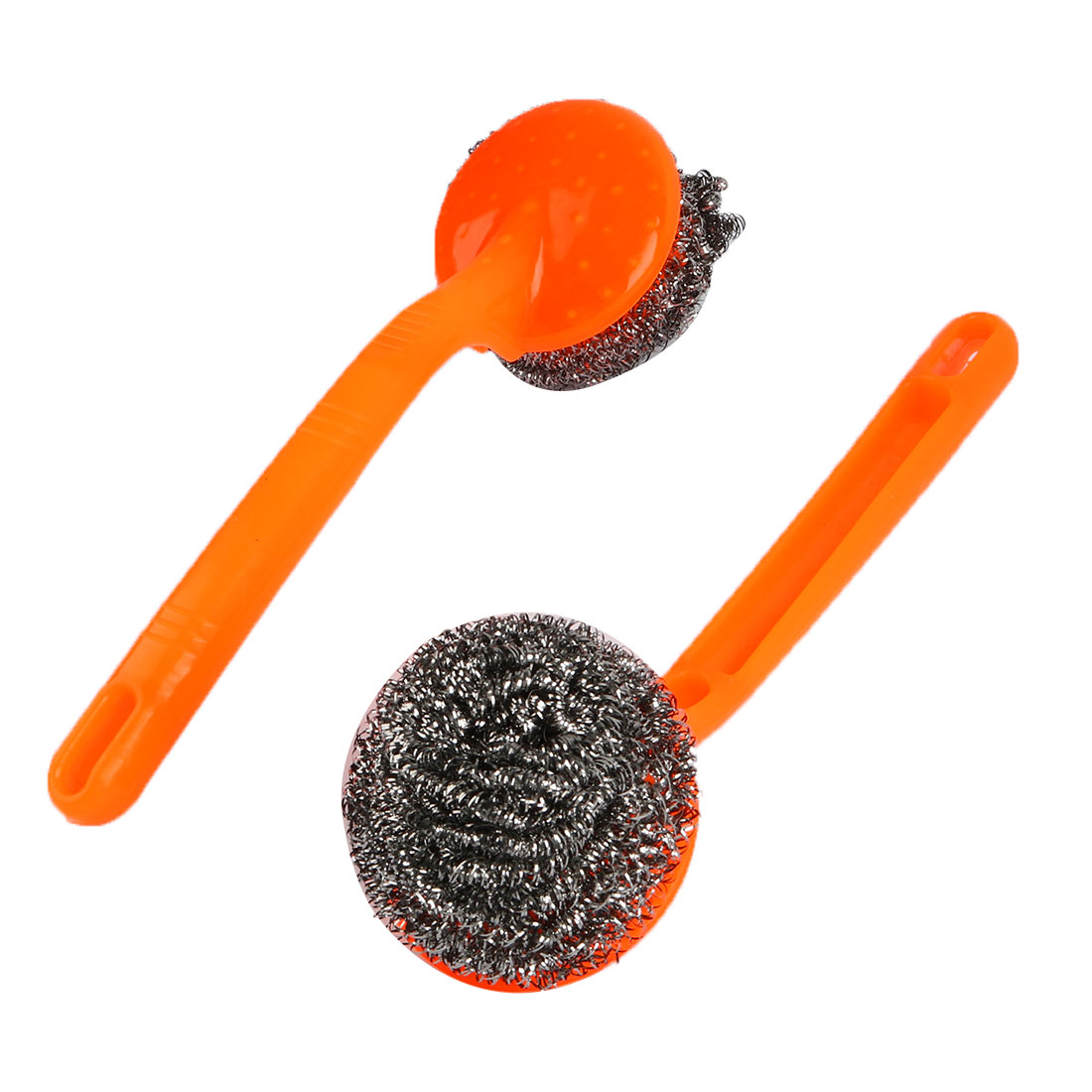 Kitchen Plastic Grip Bowl Pot Cleaning Steel Wire Ball Scourer Brush Yellow 2 Pcs