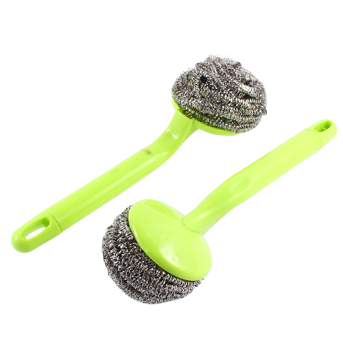 Kitchen Plastic Grip Bowl Pot Cleaning Steel Wire Ball Scourer Brush Green 2 Pcs