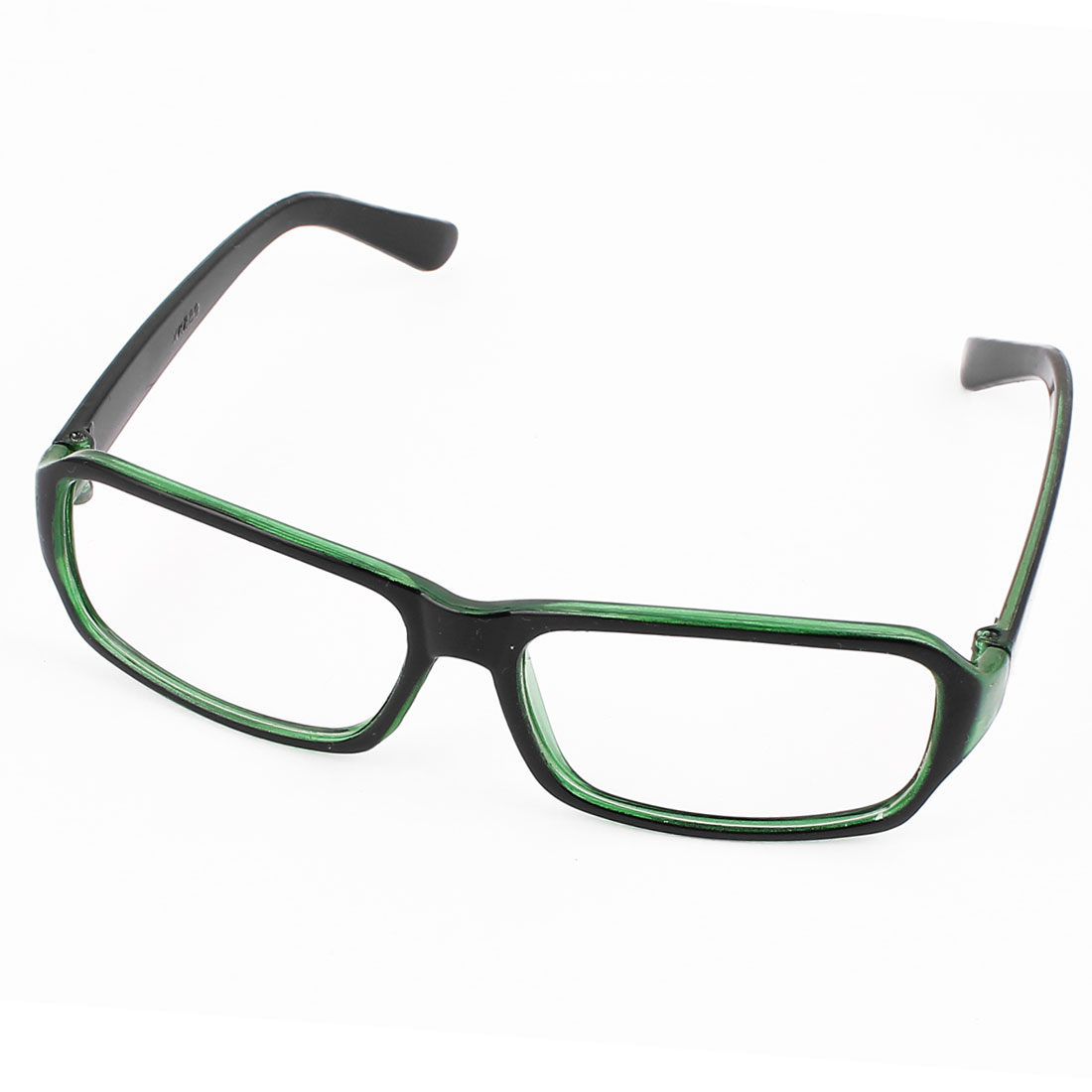 Unisex Plastic Full Rim Single Bridge Plano Glasses Spectacles Black Green