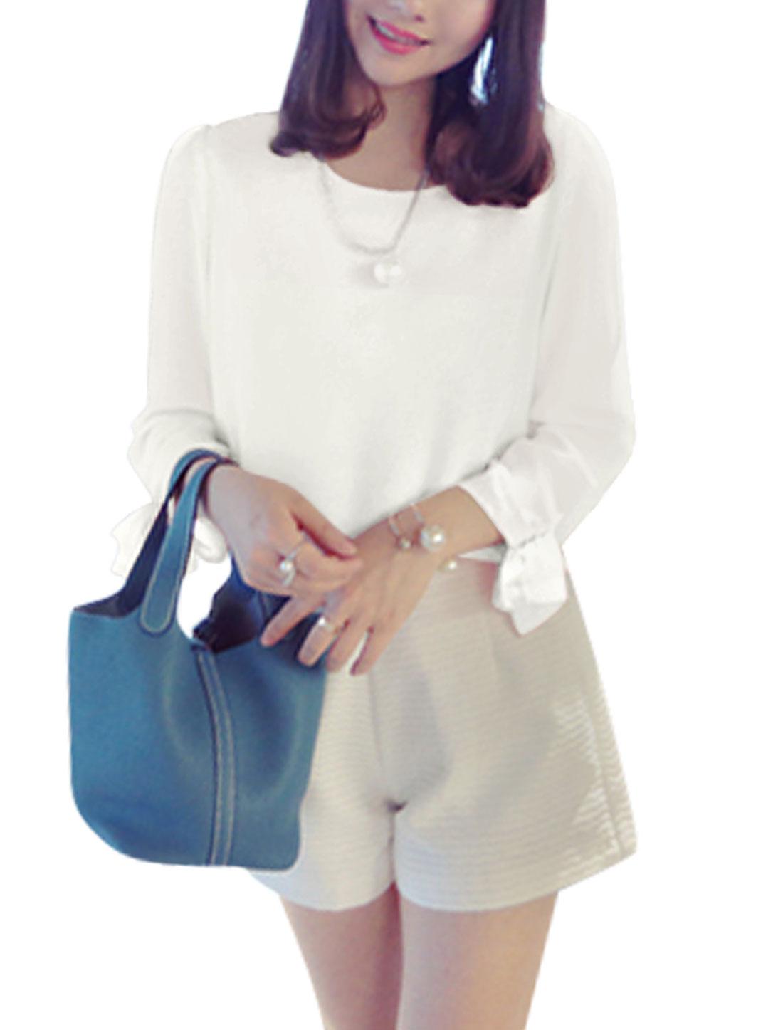 Ladies Round Neck Bracelet Sleeves Casual Chiffon Shirt White XS