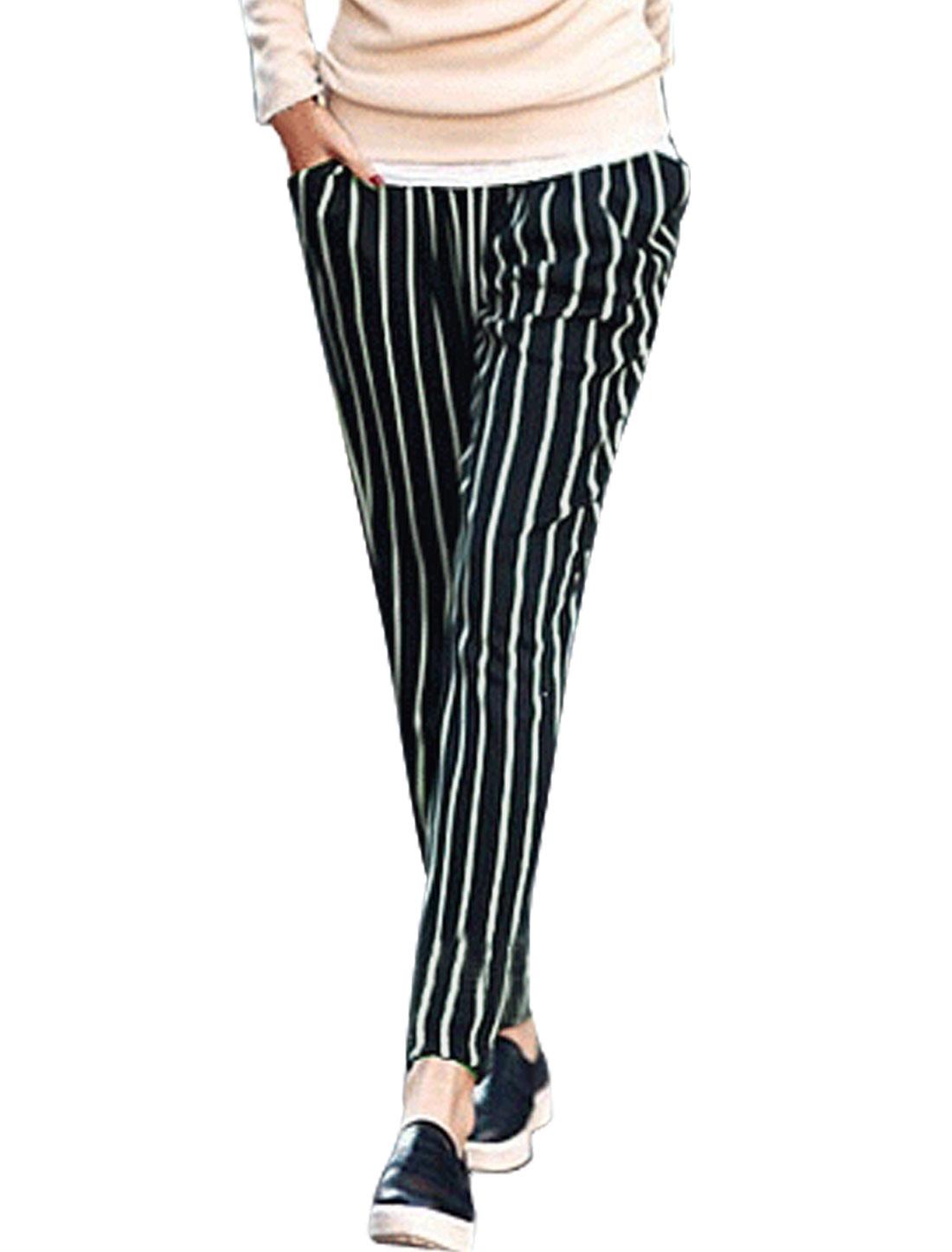 Ladies Mid Rise Drawstring Pockets Casual Stripes Pants Black White XS