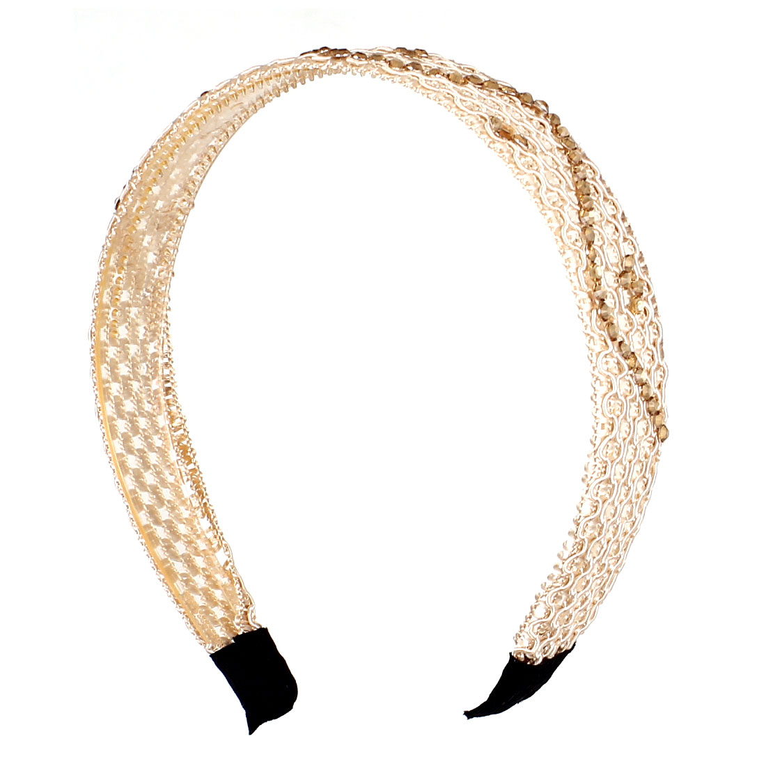 Pale Orange Plastic Rhinestone Inlaid Knitted String Hair Hoop Headband Hairband for Lady
