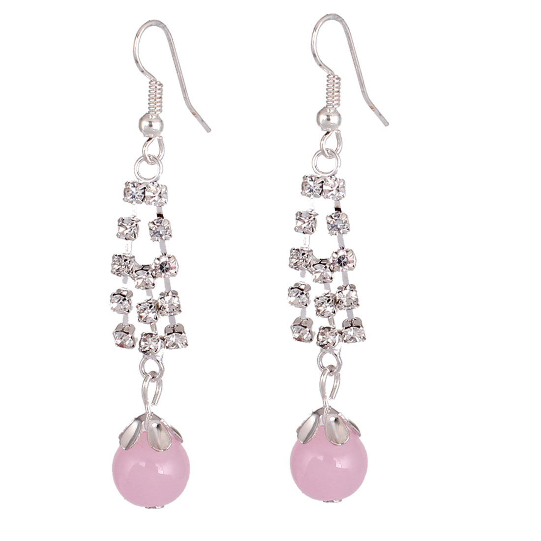 Pair Pink Round Beads Sparkly Rhinestone Inlaid Decor Ear Hook Earrings for Women