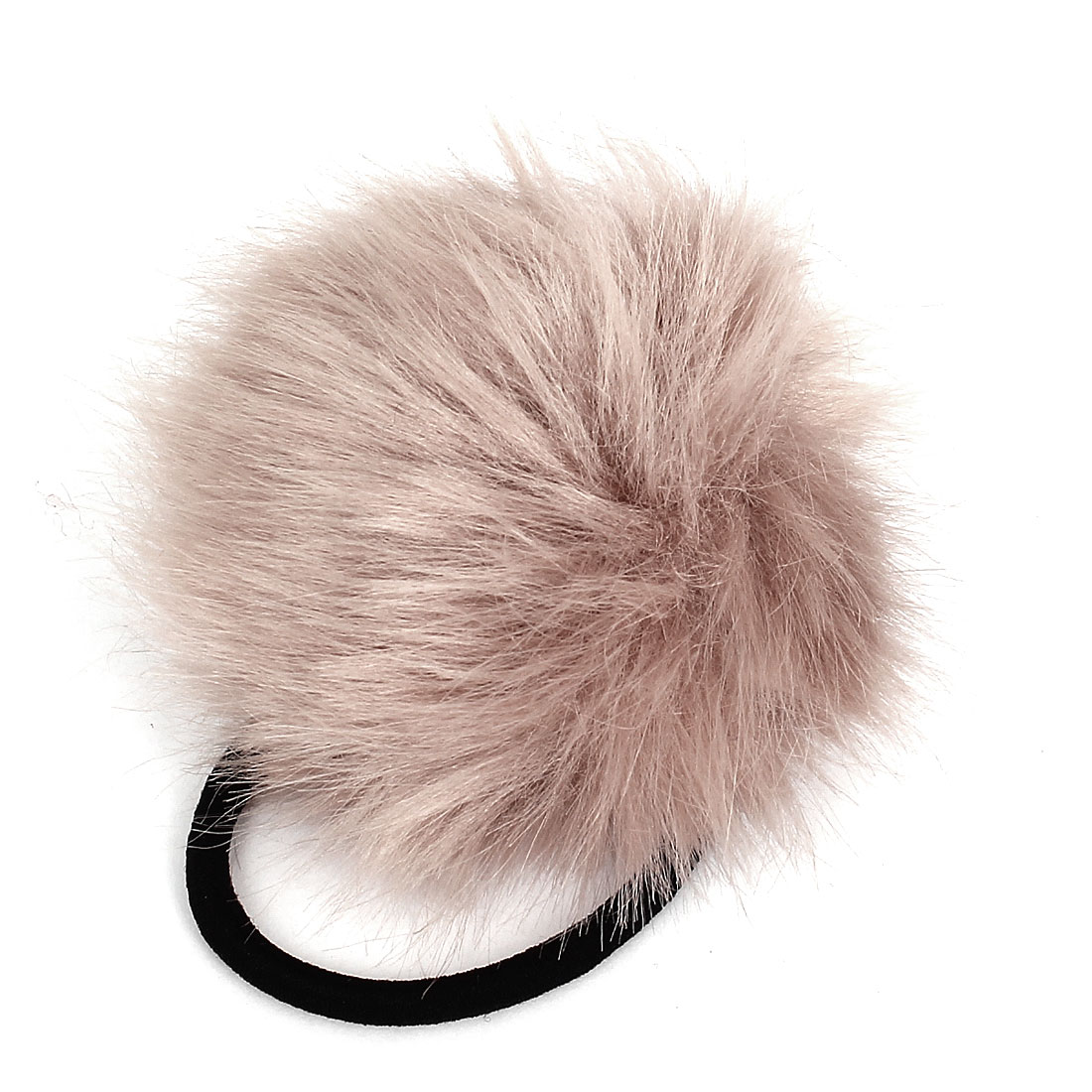 Rosybrown Fluffy Faux Fur Decor Stretchy Band Hair Tie Ponytail Hairband for Lady