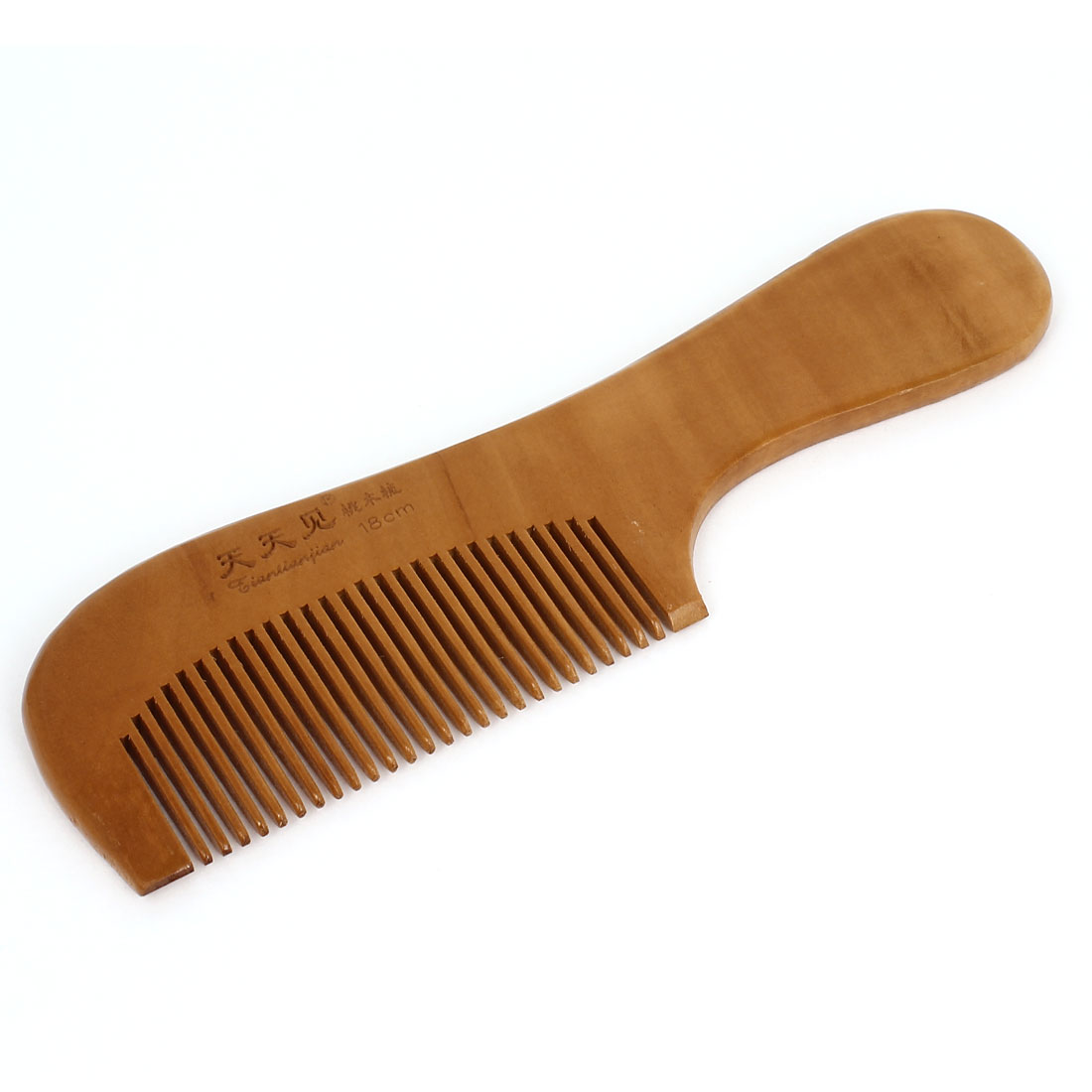 Light Brown Wooden Portable Hairdressing Curly Straight Hair Health Care Comb 17.5x5cm