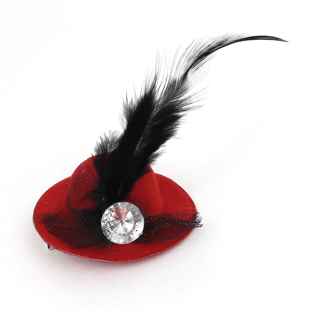 Lady Rhinestone Inlaid Feather Mesh Ornament Mini Top Cap Alligator Clip Hairclip Red