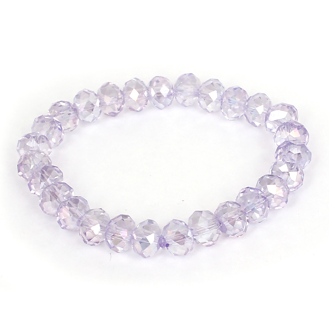 Light Purple Faceted Sparkly Faux Crystal Bead Linked Elastic Band Bracelet for Lady
