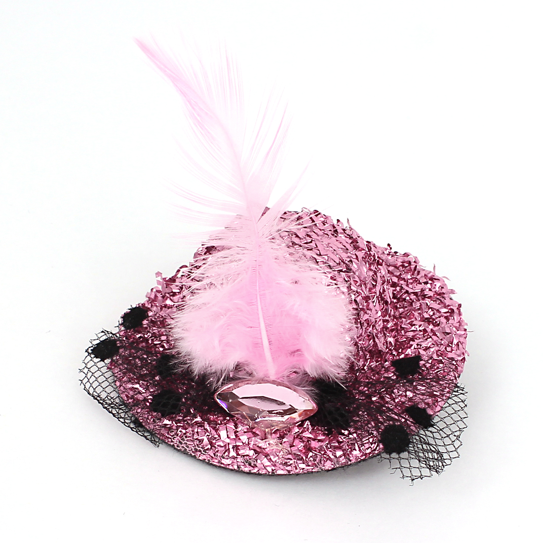 Lady Rhinestone Inlaid Feather Decor Glitter Tinsel Cover Mini Top Cap Alligator Clip Hairclip Pink
