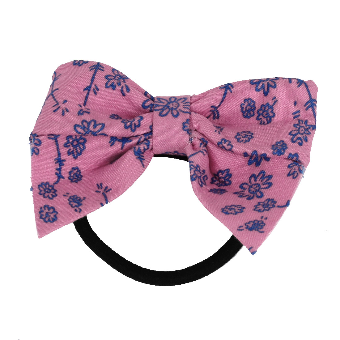 Pink Bowknot Decoration Black Elastic Band Hair Tie Ponytail Holder for Girl