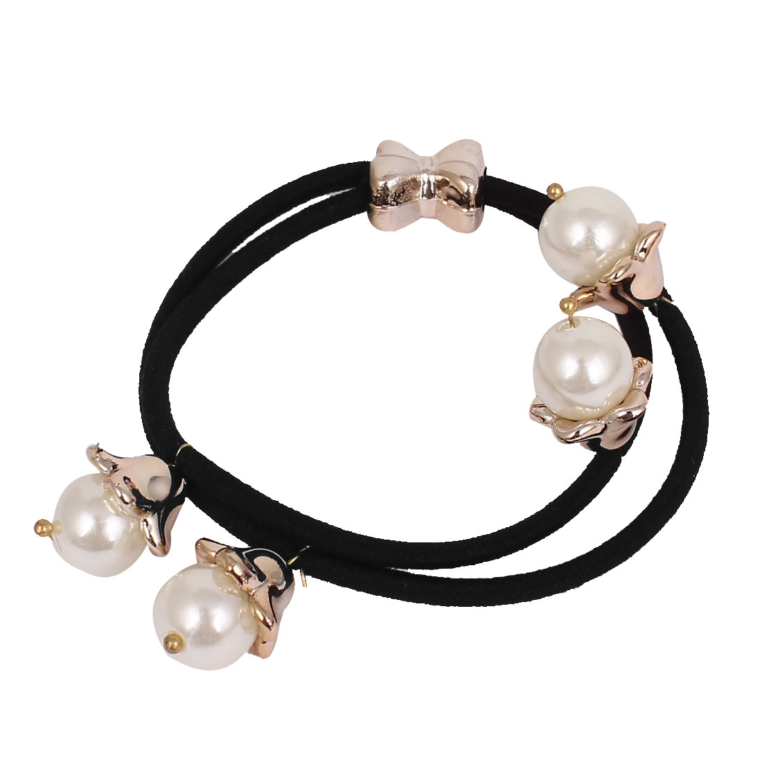 Black White Imitation Pearl Flower Bowknot Ornament Elastic Band Ponytail Holder for Woman