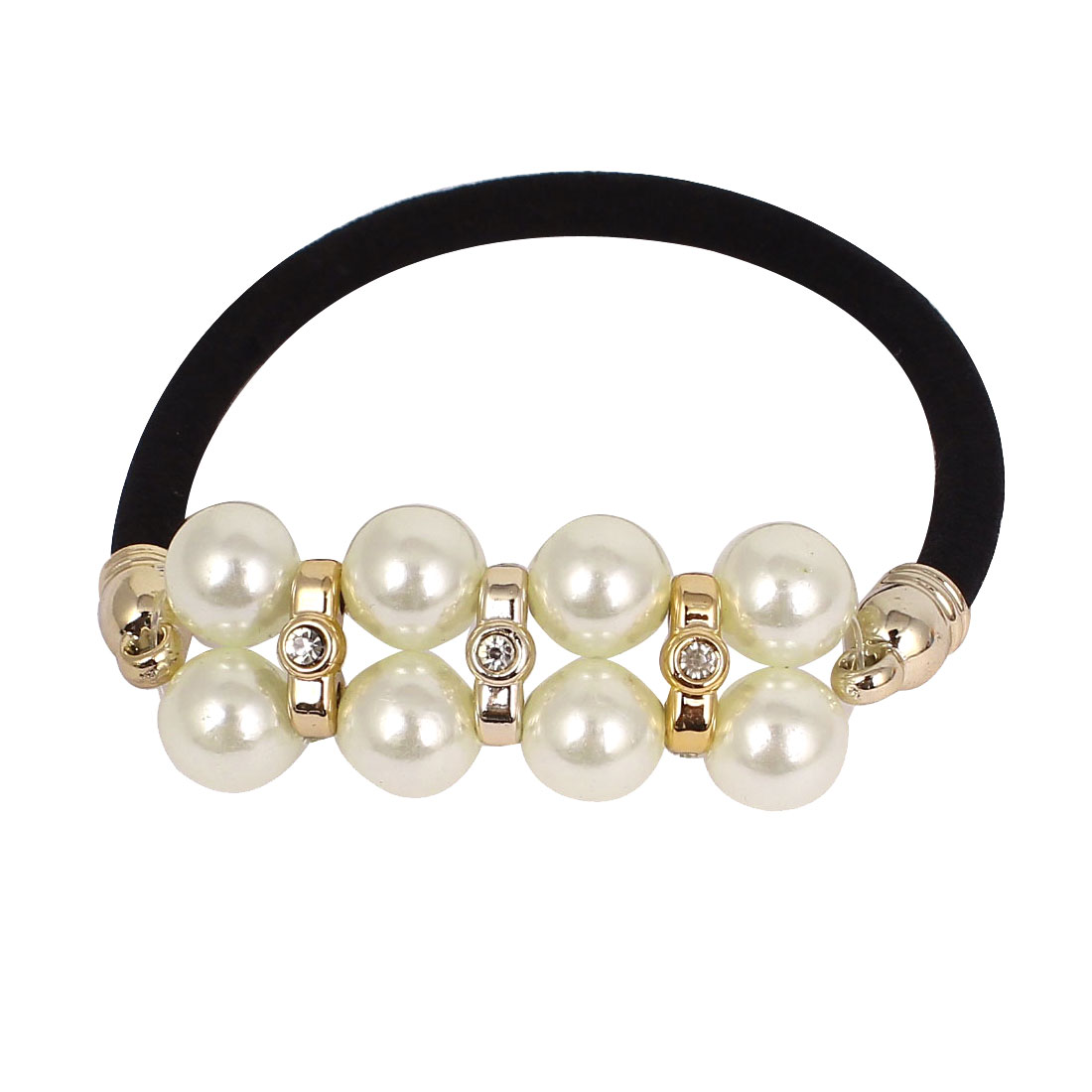 Black White Imitation Pearl Sparkly Rhinestone Inlaid Ornament Elastic Band Ponytail Holder for Lady
