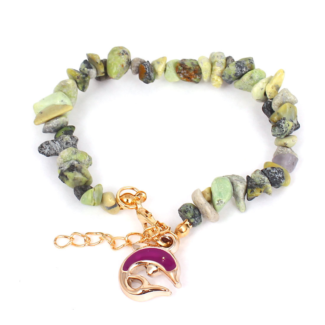 Various Shapes Stone Purple Dolphin Pendant Ornament Wrist Bracelet for Woman