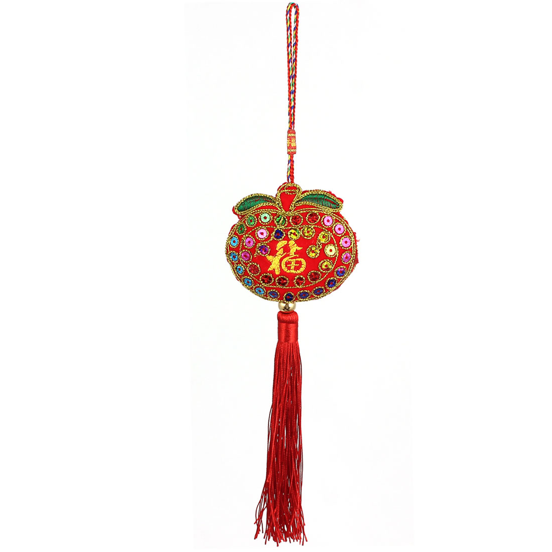 Red Tassel Detail Chinese Characters Safeness Lucky FU Counted Sachet Hanging Decor
