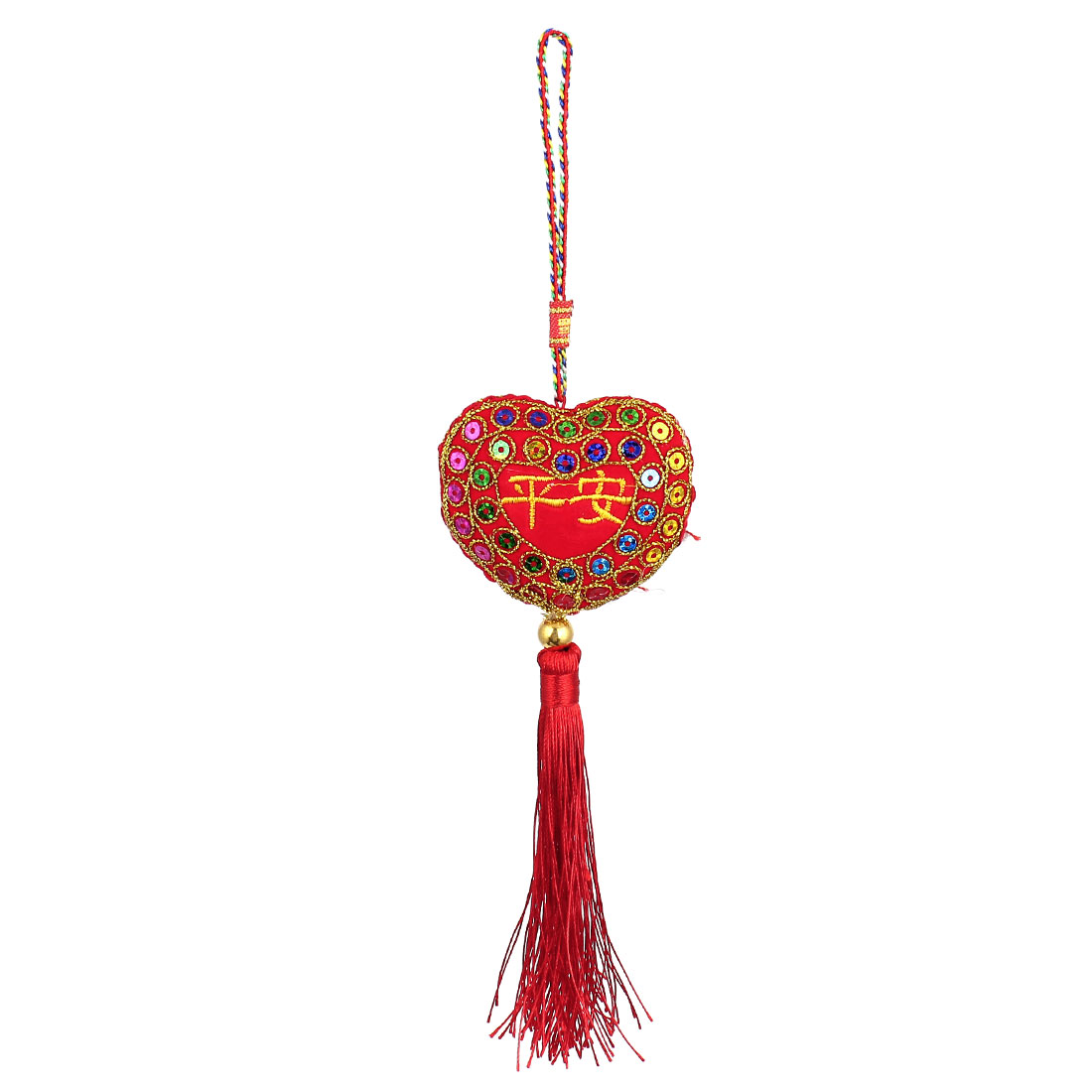 Red Tassel Detail Chinese Characters Safeness Sachet Hanging Ornament