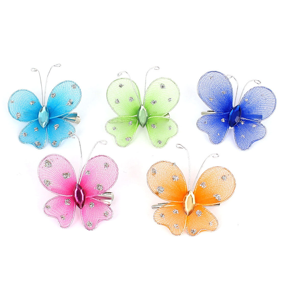 5 Pcs Assorted Color Rhinestone Inlaid Butterfly Design Crocodile Hair Clip for Girl