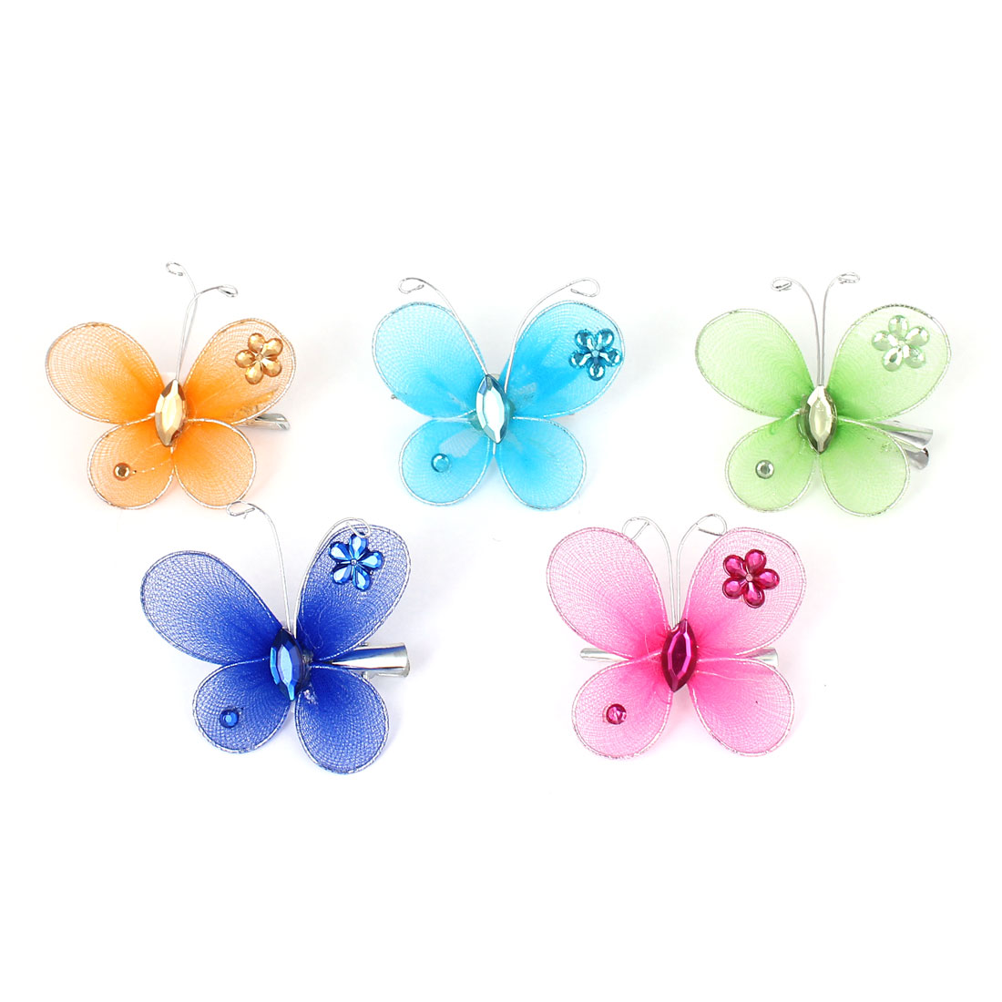 5 Pcs Assorted Color Rhinestone Inlaid Butterfly Decor Crocodile Hair Clip for Girl