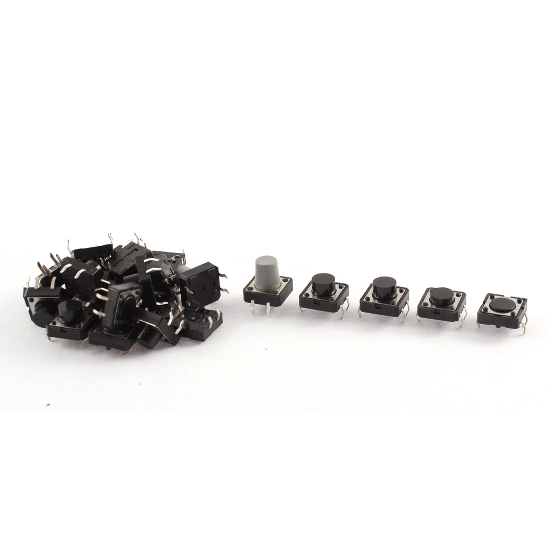 3 Sizes 4 Terminals Push Button Momentary Tact Tactile Switch 25 Pcs Black