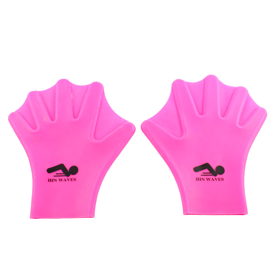 Soft Silicone Swim Training Aid Swimming Hand Paddles Gloves Fuchsia Pair