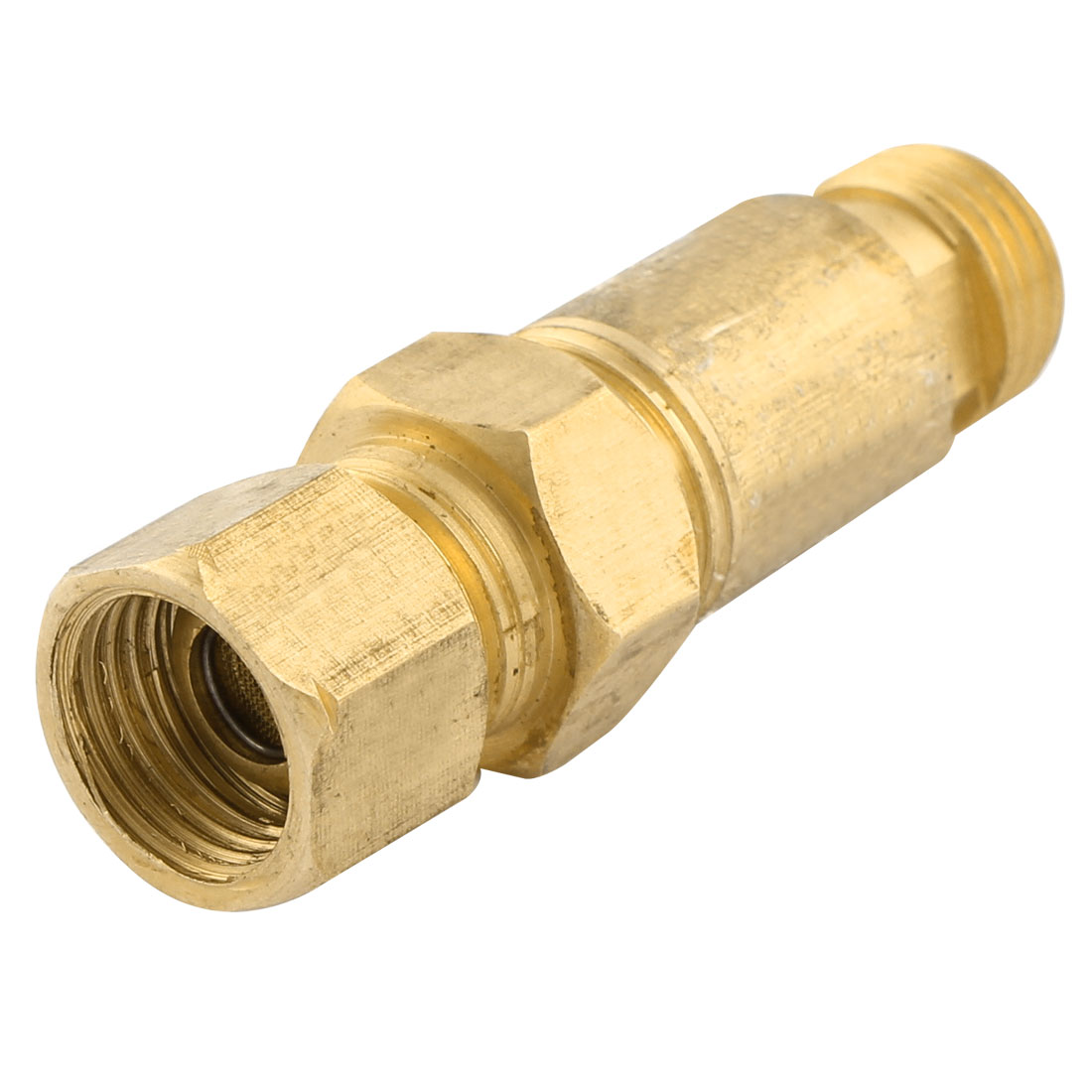 Gold Tone HF-2 Metal Male to Female Thread Liquefied Propane Gas Dry Flashback Arrestor Check Valve
