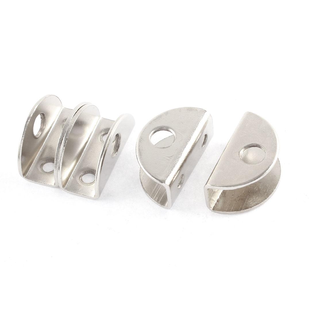 4 Pcs Silver Tone Semi-Circle Design 10mm Thickness Glass Clamp Clip