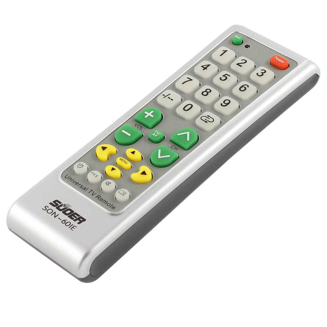 SON-601E Universal TV Plastic Shell Battery Powered Remote Control Black Light Gray