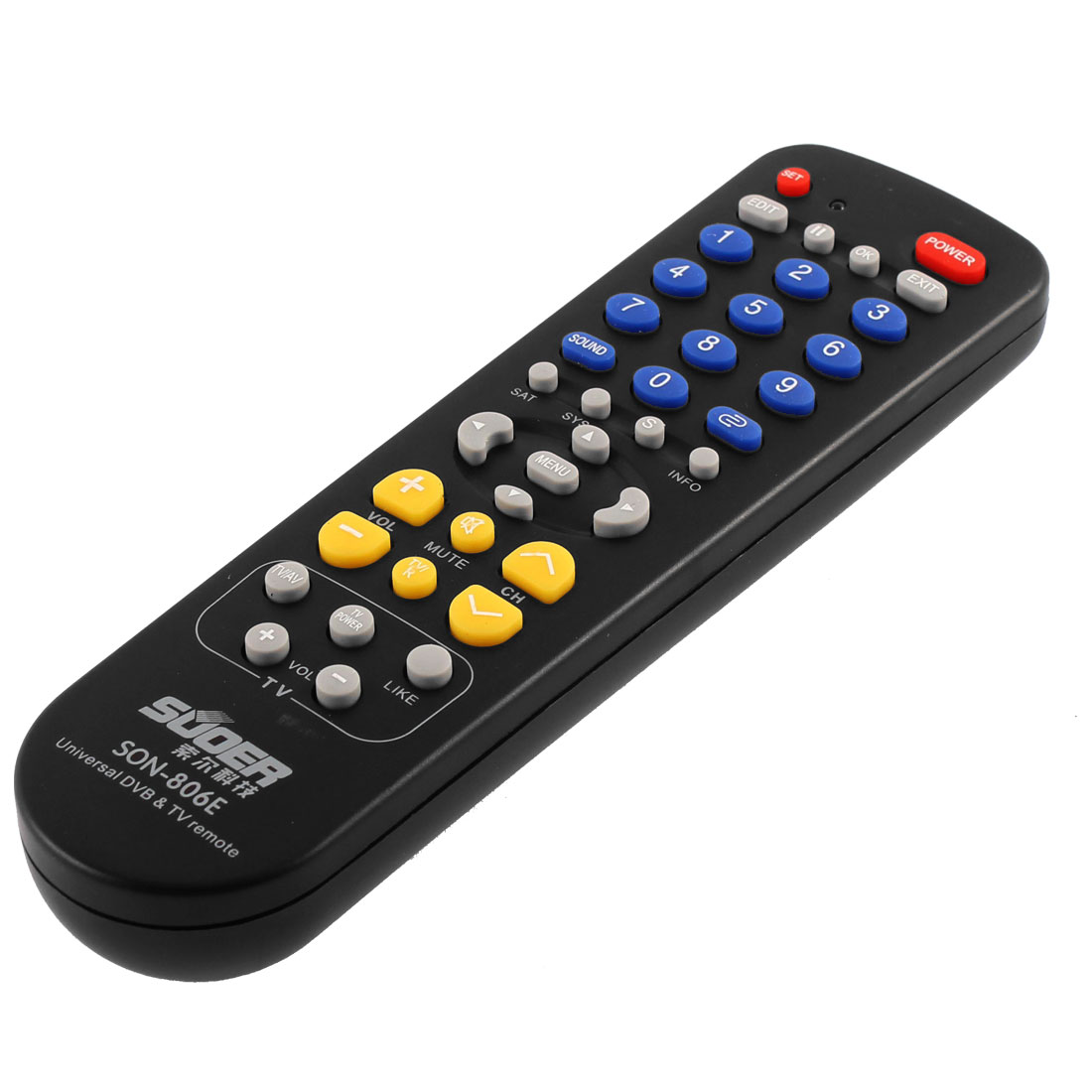 SON-806E Universal DVB TV Plastic Shell Battery Powered Remote Control Black