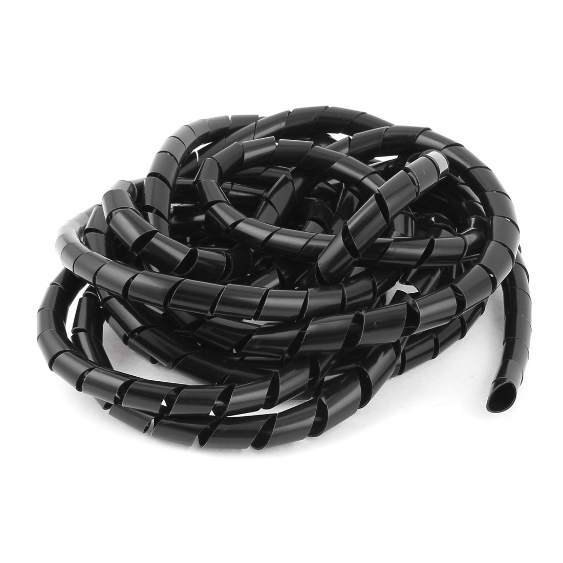 12mm 5.5M Polyethylene Computer Manage Cord Spiral Cable Wire Wrap Tube Black