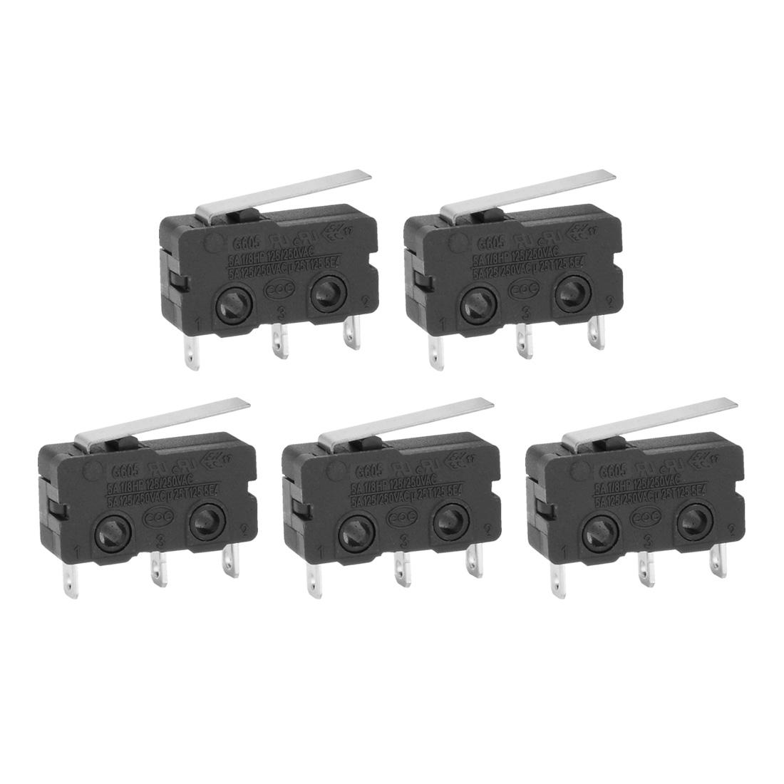 5Pcs G605-150S03A AC125/250V Long Lever Arm Subminiature SPDT Snap Action Micro Limit Switch