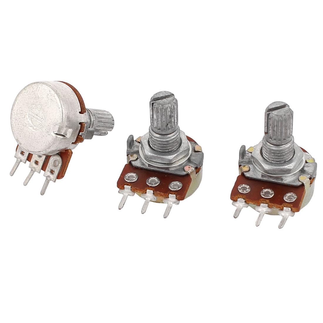 3Pcs 5K Ohm 3 Pins 6mm Dia Shaft Single Linear Rotary Potentiometers