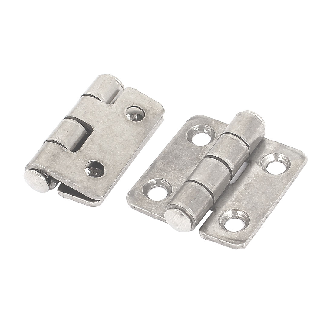 Cabinet Cupboard Door 38mm x 35mm Silver Tone Rectangle Metal Butt Hinge 2pcs