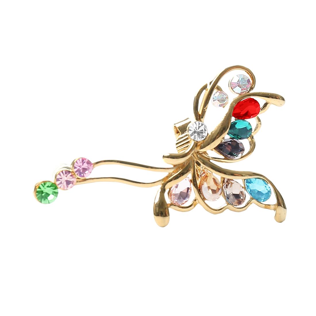 Women Butterfly Punk Crystal Ear Rhinestone Clip Cuff Earring Multi-colored