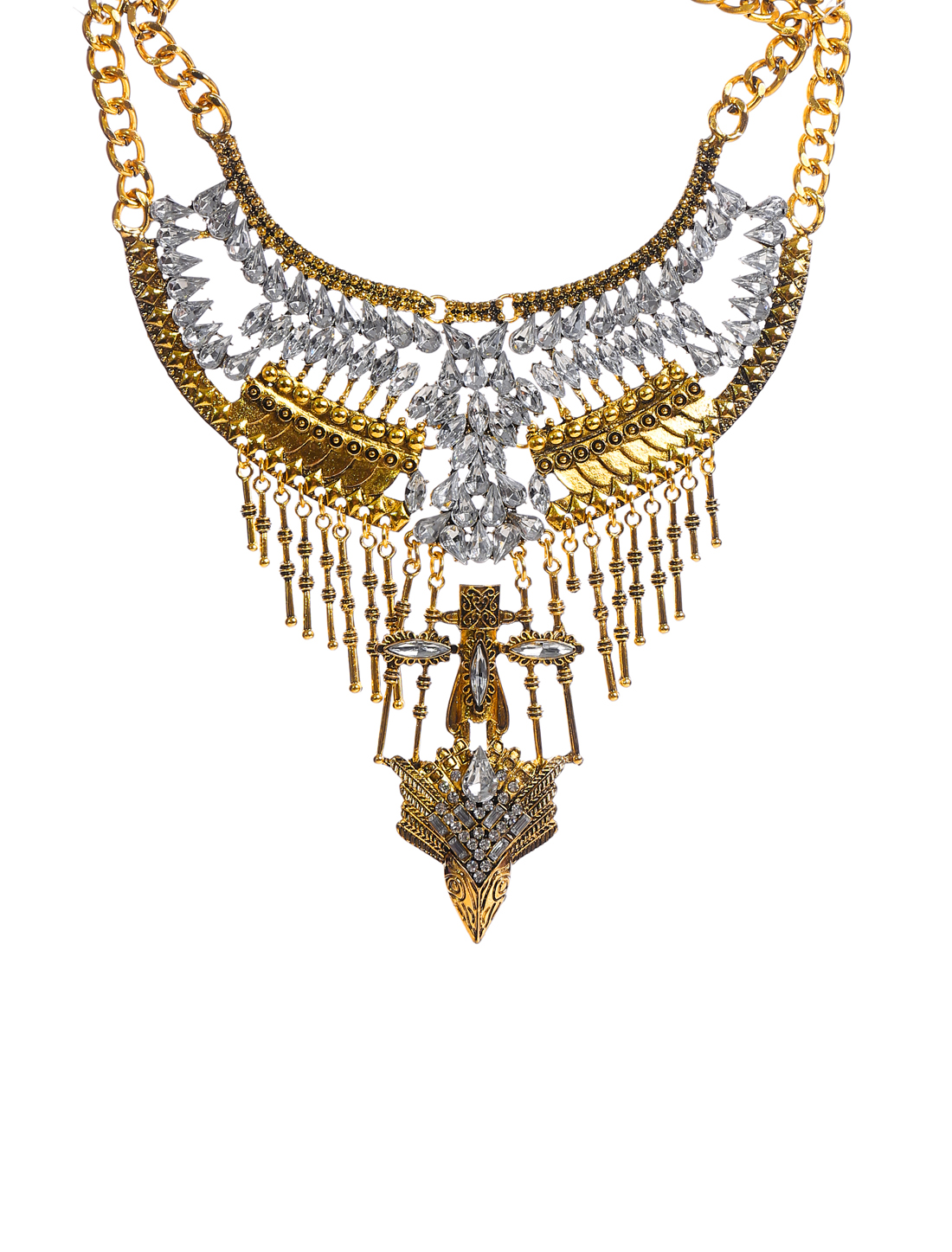 Vintage Ethnic Gold Chain Punk Statement Pendant Bib Necklace