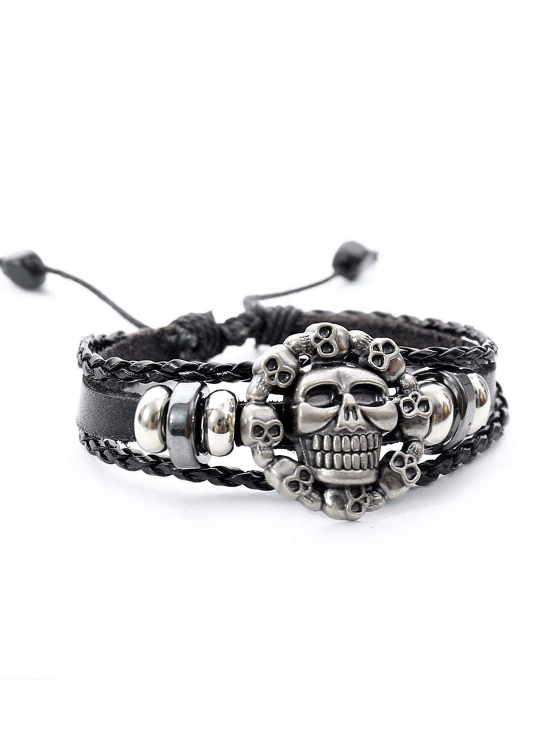 Punk Skulls Leather Charm Wrap Wristband Bracelet Bangle Cuff