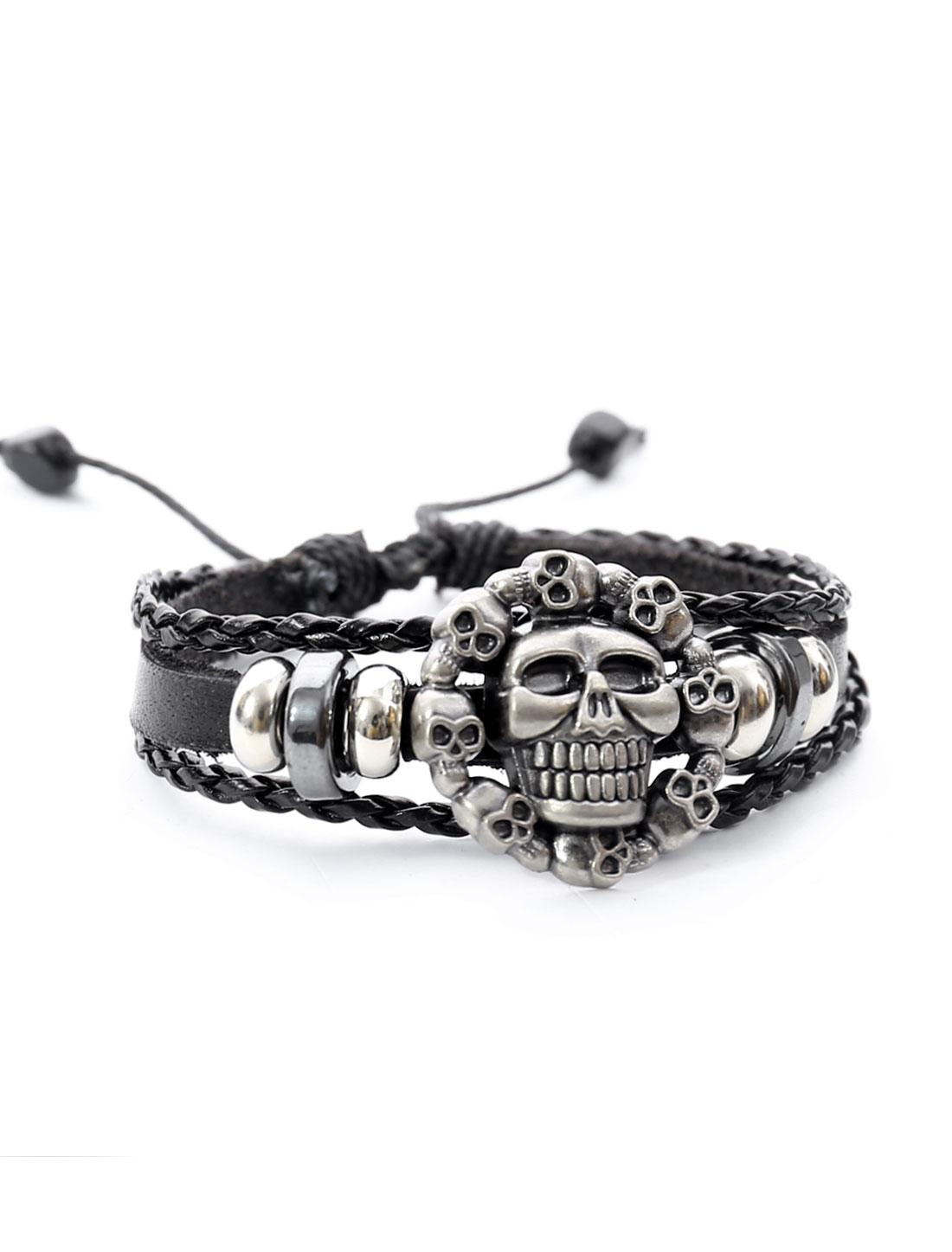 Punk Skulls Leather Charm Wrap Wristband Bracelet Bangle Cuff