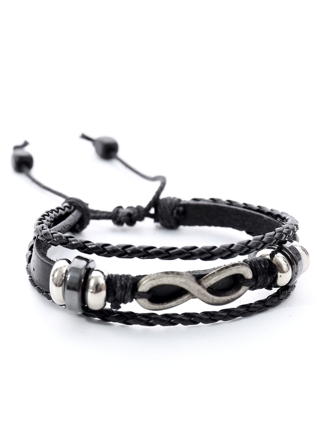 Punk Infinity Leather Charm Wrap Wristband Bracelet Bangle Cuff