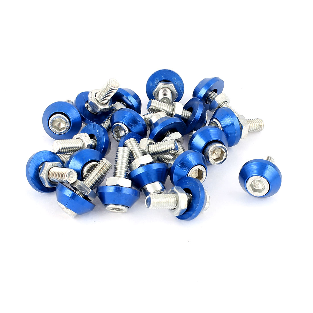 Motorcycle License Plate Bolt Hex Cap Screws Blue Silver Tone 20 Pcs