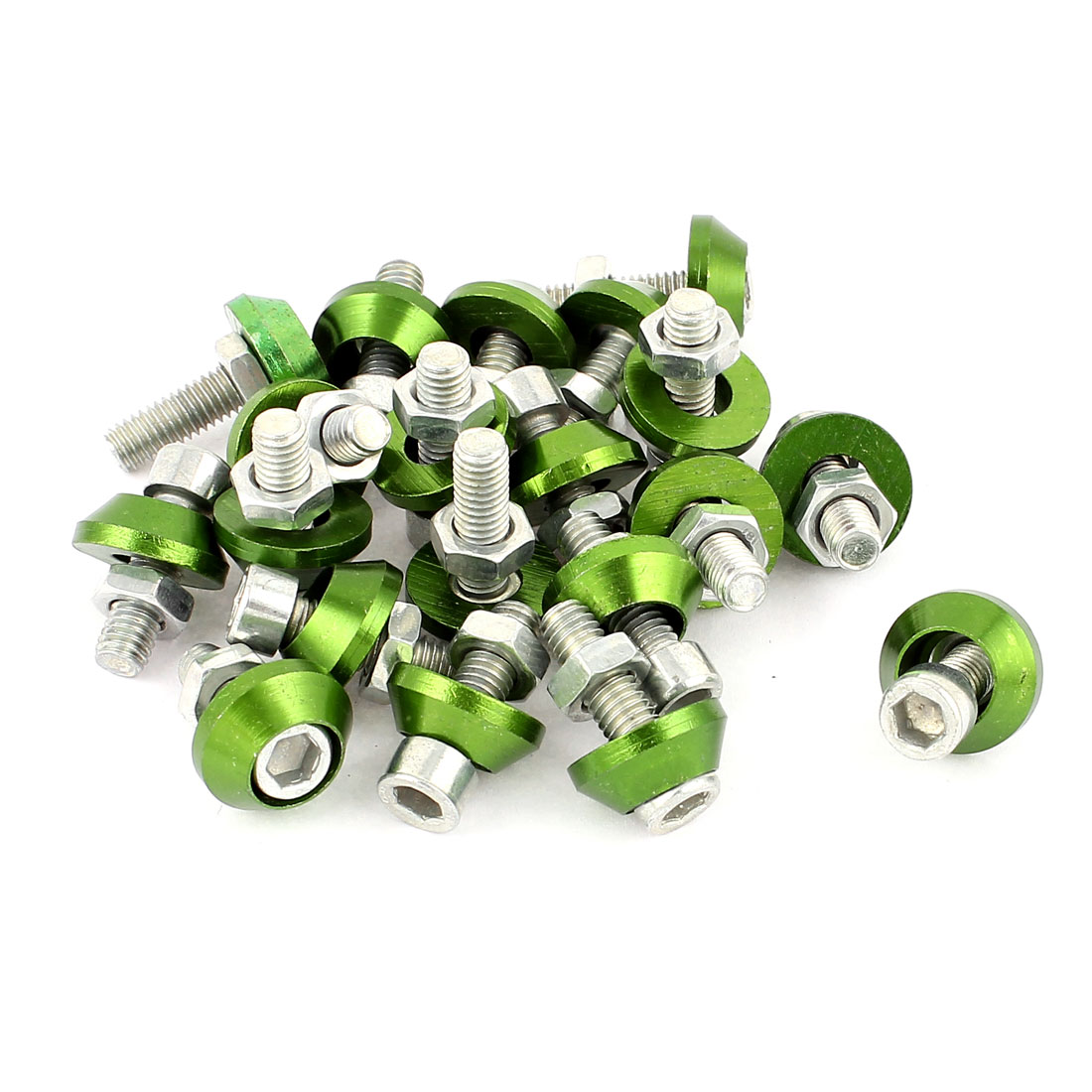 Motorcycle License Plate Bolt Hex Cap Screws Green Silver Tone 20 Pcs