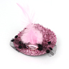 Lady Rhinestone Inlaid Feather Decor Glitter Tinsel Cover Mini Top Cap Alligator Clip Hairclip Pink